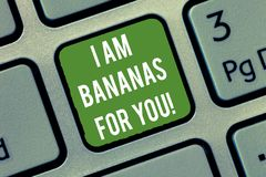 Word writing text I Am Bananas For You. Business concept for To be crazy for someone in loved happy emotion Keyboard key stock images
