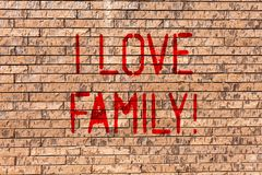 Word writing text I Love Family. Business concept for Good feelings Affection Carefulness for your mother father Brick. Word writing text I Love Family. Business royalty free stock images
