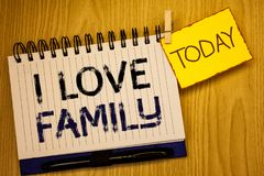 Word writing text I Love Family. Business concept for Good feelings Affection Carefulness for your mother father. Wordss writing textss I Love Family. Business royalty free stock images