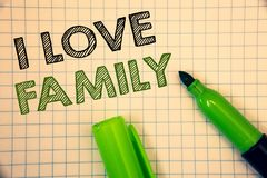 Word writing text I Love Family. Business concept for Good feelings Affection Carefulness for your mother father. Wordss writing textss I Love Family. Business royalty free stock photos