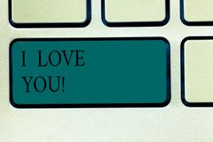 Word writing text I Love You. Business concept for Expressing roanalysistic feelings for someone Positive emotion. Keyboard key Intention to create computer stock photos