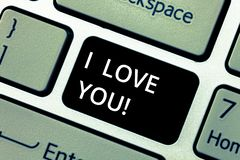 Word writing text I Love You. Business concept for Expressing roanalysistic feelings for someone Positive emotion. Keyboard key Intention to create computer stock image