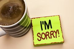 Word writing text I m Sorry. Business concept for Apologize Conscience Feel Regretful Apologetic Repentant Sorrowful written on Gr. Word writing text I m Sorry Stock Photography
