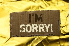 Word writing text I m Sorry. Business concept for Apologize Conscience Feel Regretful Apologetic Repentant Sorrowful written on te. Word writing text I m Sorry Stock Images