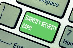 Word writing text Identify Security Gaps. Business concept for determine whether the controls in place are enough. Keyboard key Intention to create computer royalty free stock image