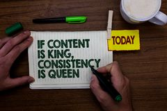 Word writing text If Content Is King, Consistency Is Queen. Business concept for Marketing strategies Persuasion Man holding marke. R notebook clothespin royalty free stock photo