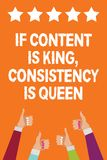 Word writing text If Content Is King, Consistency Is Queen. Business concept for Marketing strategies Persuasion Men women hands t. Humbs up approval five stars royalty free illustration