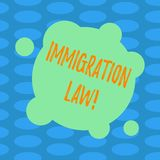 Word writing text Immigration Law. Business concept for National Regulations for immigrants Deportation rules Blank Deformed Color. Round Shape with Small royalty free illustration