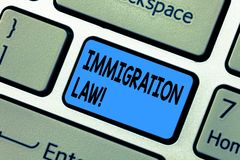 Word writing text Immigration Law. Business concept for National Regulations for immigrants Deportation rules Keyboard. Key Intention to create computer message royalty free stock photos