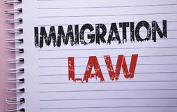 Word writing text Immigration Law. Business concept for National Regulations for immigrants Deportation rules written on Notebook. Word writing text Immigration stock image