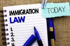 Word writing text Immigration Law. Business concept for National Regulations for immigrants Deportation rules written on Notebook. Word writing text Immigration stock images