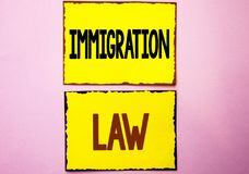Word writing text Immigration Law. Business concept for National Regulations for immigrants Deportation rules written on Yellow St. Word writing text Immigration royalty free stock photos