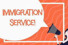 Word writing text Immigration Service. Business concept for responsible for law regarding immigrants and immigration. Word writing text Immigration Service royalty free illustration