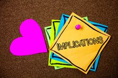Word writing text Implications. Business concept for Conclusion State of being involved Suggestion Insinuation Hint Ideas messages. Paper pink heart cork royalty free stock photography