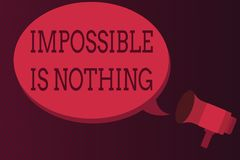 Word writing text Impossible Is Nothing. Business concept for Anything is Possible Believe the Realm of Possibility.  royalty free illustration