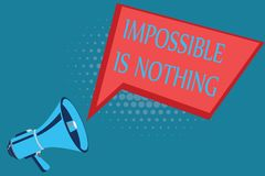 Word writing text Impossible Is Nothing. Business concept for Anything is Possible Believe the Realm of Possibility.  vector illustration