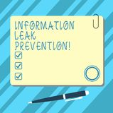 Word writing text Information Leak Prevention. Business concept for Inhibiting critical information to outflow Blank. Square Color Board with Magnet Click stock illustration