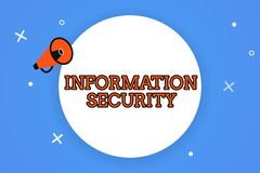 Word writing text Information Security. Business concept for INFOSEC Preventing Unauthorized Access Being Protected royalty free illustration