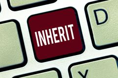 Free Word Writing Text Inherit. Business Concept For Receive Money Properties Titles As Heir Family Inheritance Royalty Free Stock Photography - 133586007