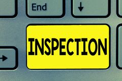 Word writing text Inspection. Business concept for Careful examination or scrutiny Investigation Review Evaluation.  royalty free stock photography