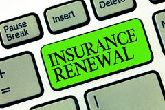 Word writing text Insurance Renewal. Business concept for Protection from financial loss Continue the agreement.  stock image