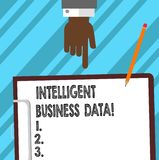 Word writing text Intelligent Business Data. Business concept for use of internal data to analyze the operations Hu analysis Hand. Pointing Down to Clipboard royalty free illustration