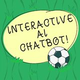 Word writing text Interactive Ai Chatbot. Business concept for computer program that simulates huanalysis conversation. Soccer Ball on the Grass and Blank vector illustration