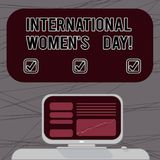 Word writing text International Women S Day. Business concept for International celebration for womens achievement Mounted. Computer Screen with Line Graph on royalty free illustration
