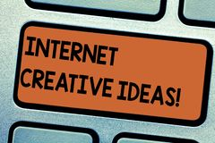 Word writing text Internet Creative Ideas. Business concept for ability to make new things or think of new ideas. Keyboard key Intention to create computer royalty free stock image