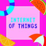 Word writing text Internet Of Things. Business concept for connection of Devices to the Net to Send Receive Data stock illustration