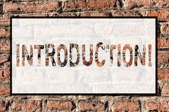 Word writing text Introduction. Business concept for First part of a document Formal presentation to an audience Brick. Word writing text Introduction. Business stock photos