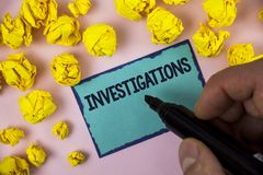 Word writing text Investigations. Business concept for Formal inquiry Systematic Study Examination Research Analysis written by Ma. N Sticky note paper holding Royalty Free Stock Photos
