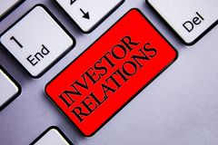 Word writing text Investor Relations. Business concept for Finance Investment Relationship Negotiate Shareholder Display several s. Ilvery arrow key focused red stock photo
