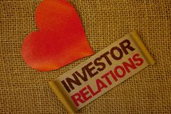 Word writing text Investor Relations. Business concept for Finance Investment Relationship Negotiate Shareholder Lavender pink pag. E with red border and content stock image