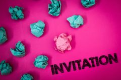 Word writing text Invitation. Business concept for Written or verbal request someone to go somewhere or do something Ideas message. S thoughts pink background royalty free stock photography