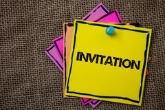Word writing text Invitation. Business concept for Written or verbal request someone to go somewhere or do something Papers Ideas. Messages important to Stock Images