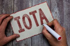 Word writing text Iota. Business concept for Crypto currency platform Ledger that records the online transactions royalty free stock photography