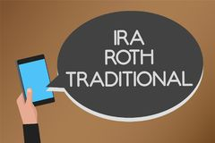 Word writing text Ira Roth Traditional. Business concept for are tax deductible on both state and federal Mobile text message mess. Enger smart touch typing Stock Photos