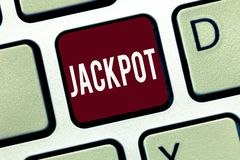 Word writing text Jackpot. Business concept for Large cash prize in game Lottery Big award Gambling related.  stock images