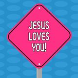 Word writing text Jesus Loves You. Business concept for Believe in the Lord To have faith religious demonstrating Blank stock illustration