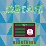 Word writing text Job Fair. Business concept for event in which employers recruiters give information to employees. Word writing text Job Fair. Business photo royalty free illustration