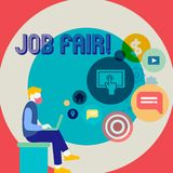 Word writing text Job Fair. Business concept for event in which employers recruiters give information to employees Man. Word writing text Job Fair. Business stock illustration