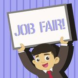 Word writing text Job Fair. Business concept for event in which employers recruiters give information to employees Young. Word writing text Job Fair. Business royalty free illustration