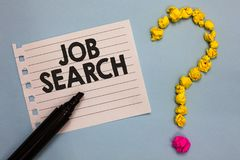 Word writing text Job Search. Business concept for An act of person to find work suited for his profession Paper marker crumpled p. Apers forming question mark royalty free stock photo
