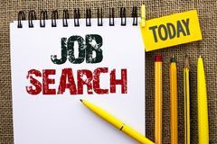 Word writing text Job Search. Business concept for Find Career Vacancy Opportunity Employment Recruitment Recruit written on Noteb. Word writing text Job Search stock photos