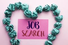 Word writing text Job Search. Business concept for Find Career Vacancy Opportunity Employment Recruitment Recruit written on Pink. Word writing text Job Search royalty free stock photography