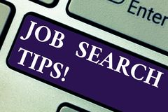 Word writing text Job Search Tips. Business concept for Recommendations to make a good resume to obtain a position. Keyboard key Intention to create computer royalty free stock images