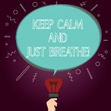 Word writing text Keep Calm And Just Breathe. Business concept for Take a break to overcome everyday difficulties Blank. Oval Color Speech Bubble Above a Broken vector illustration