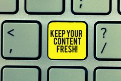 Word writing text Keep Your Content Fresh. Business concept for Have your marketing promotion strategies updated. Keyboard key Intention to create computer stock photo
