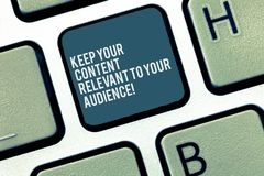 Word writing text Keep Your Content Relevant To Your Audience. Business concept for Good marketing strategies Keyboard. Key Intention to create computer message royalty free stock photography